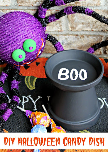 Easy DIY Halloween Candy Dish from a terracotta pot #SmokehouseBBQ
