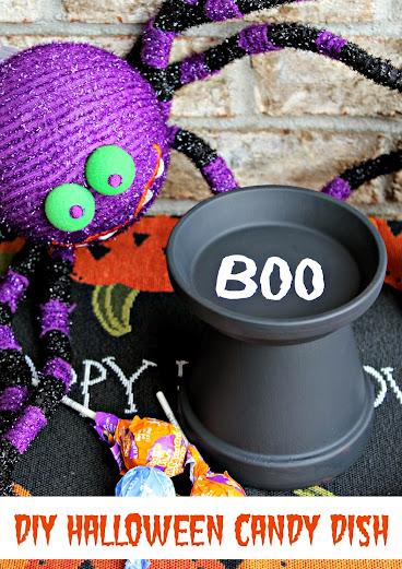Easy DIY Halloween Candy Dish from a terracotta pot #SmokehouseBBQ