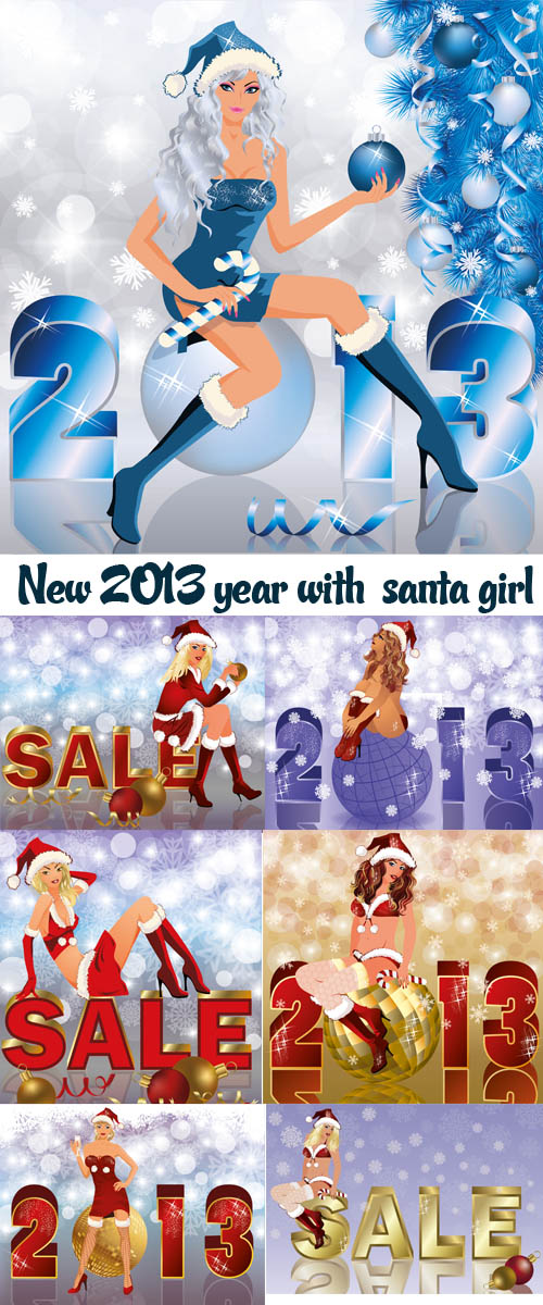 Stock: New 2013 year with  santa girl