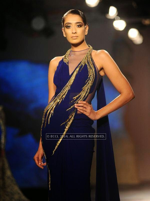 Binal walks the ramp for designer Gaurab Gupta on Day 3 of India Couture Week, 2014, held at Taj Palace hotel, New Delhi.<br />