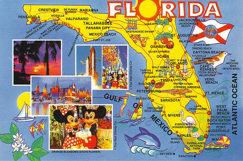 postcards, map cards, Florida