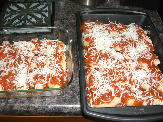 Shells topped with tomato sauce and mozzarella cheese