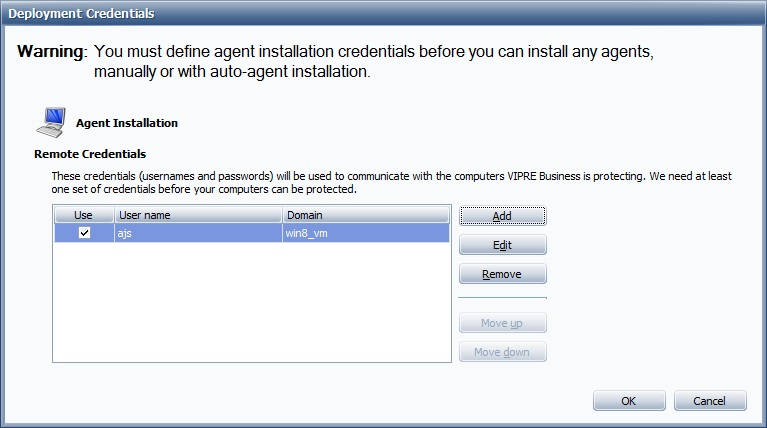 Vipre 5.0 Business free trail - configuration screen