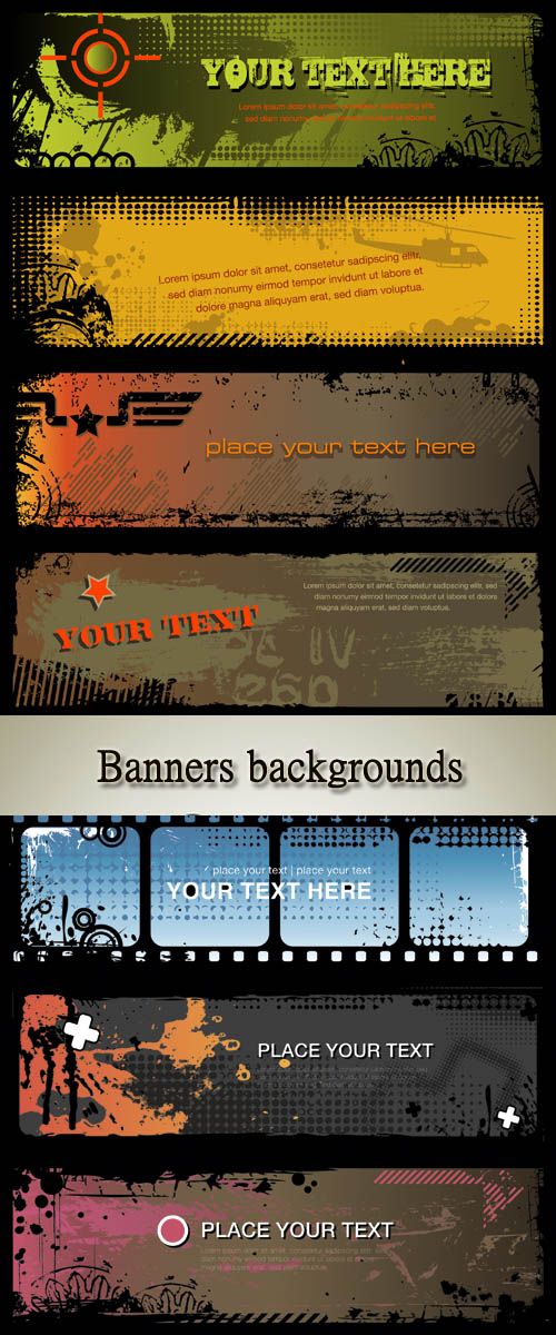 Stock: Set of three abstract grungy banners backgrounds