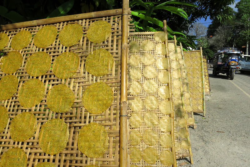 Yellow crackers drying in the sun