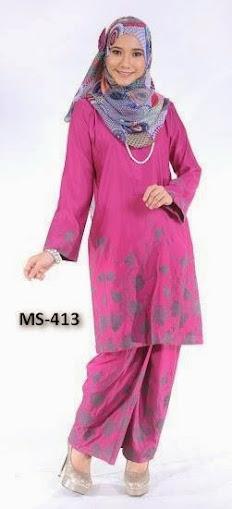 Baju Kurung Pahang Merah Jambu Pink