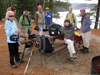 Snack stop at Silver Lake after hiking up the trail from Lake Dunmore's Falls of Lana trail. (01/07/12)