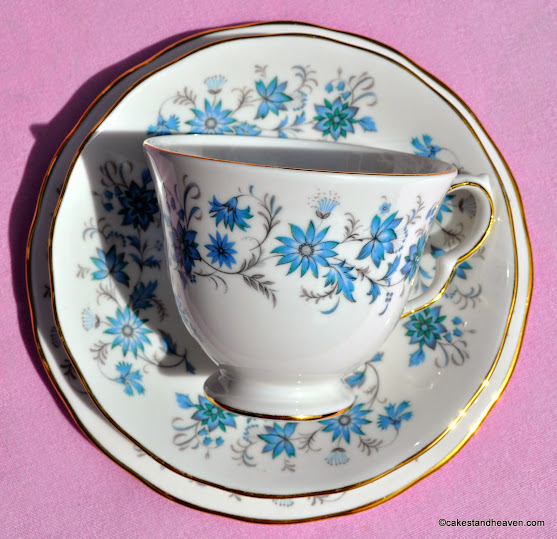 Colclough Braganze Teacup, Saucer, Tea Plate Trio