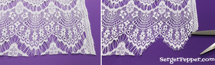 Serger Pepper - Sewing Lace like a Pro - 40+ best tips - scalloped hem