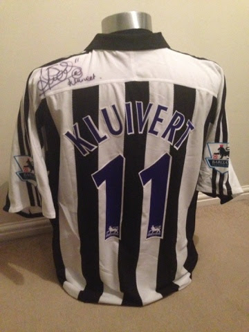 Match Worn   Signed Patrick Kluivert Newcastle home shirt  15ddfc137