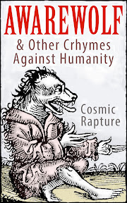 front cover artwork for kindle book, AWAREWOLF and other chrymes against humanity