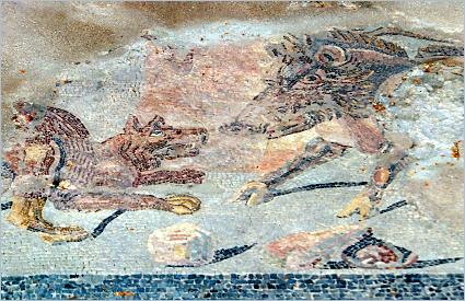 Sizilien - Palermo - Römisches Bodenmosaik in der Villa Bonanno
