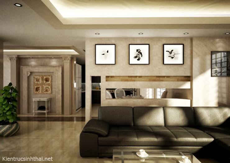 Thiết kế phòng khách + bếp ăn mang phong cách cổ điển cho căn hộ chung cư .