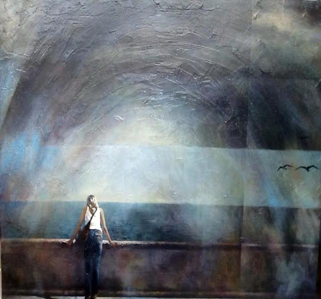 El balcón de Cádiz,pintura en técnica mixta del pintor Ligüeri