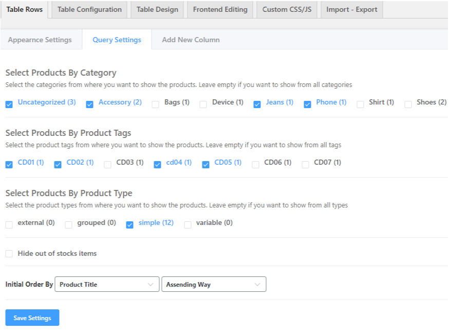 Interactive table plugin for WooCommerce products