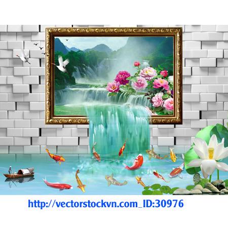 Phong cảnh tranh 3D cá vàng thác nước.