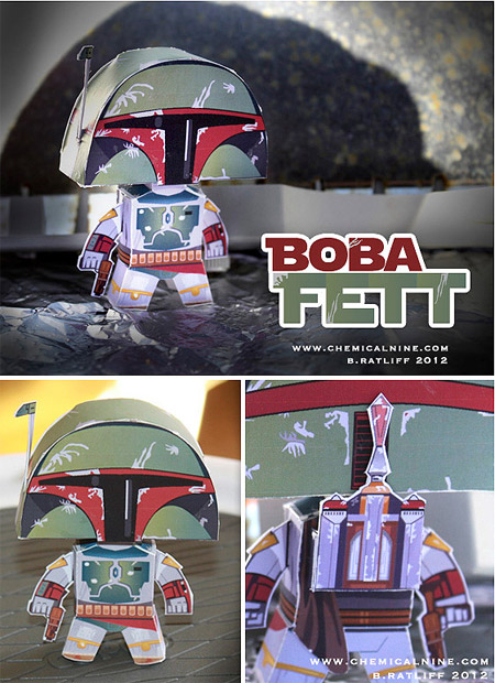 Big Head Boba Fett Paper Toy