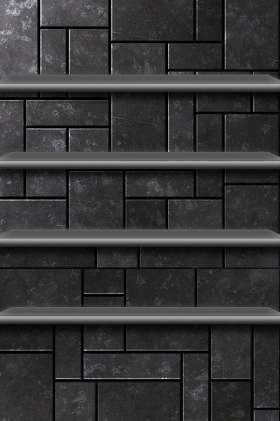 3D Gray Shelves on Tile Backgrounds For iPhone4S