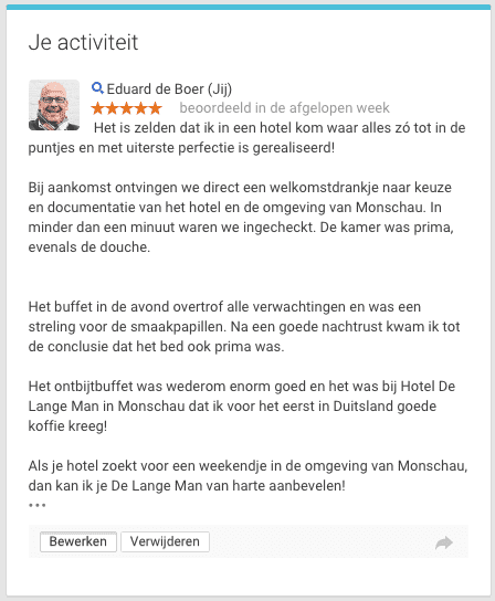 Google+ review voor Hotel de Lange Man in Monschau