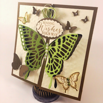 Linda Vich Creates: This lovely gate fold card uses the Reverse Framelits Technique to showcase the elaborate Butterfly Thinlits die from Stampin' Up! artfully surrounded by a kaleidoscope of smaller butterflies.