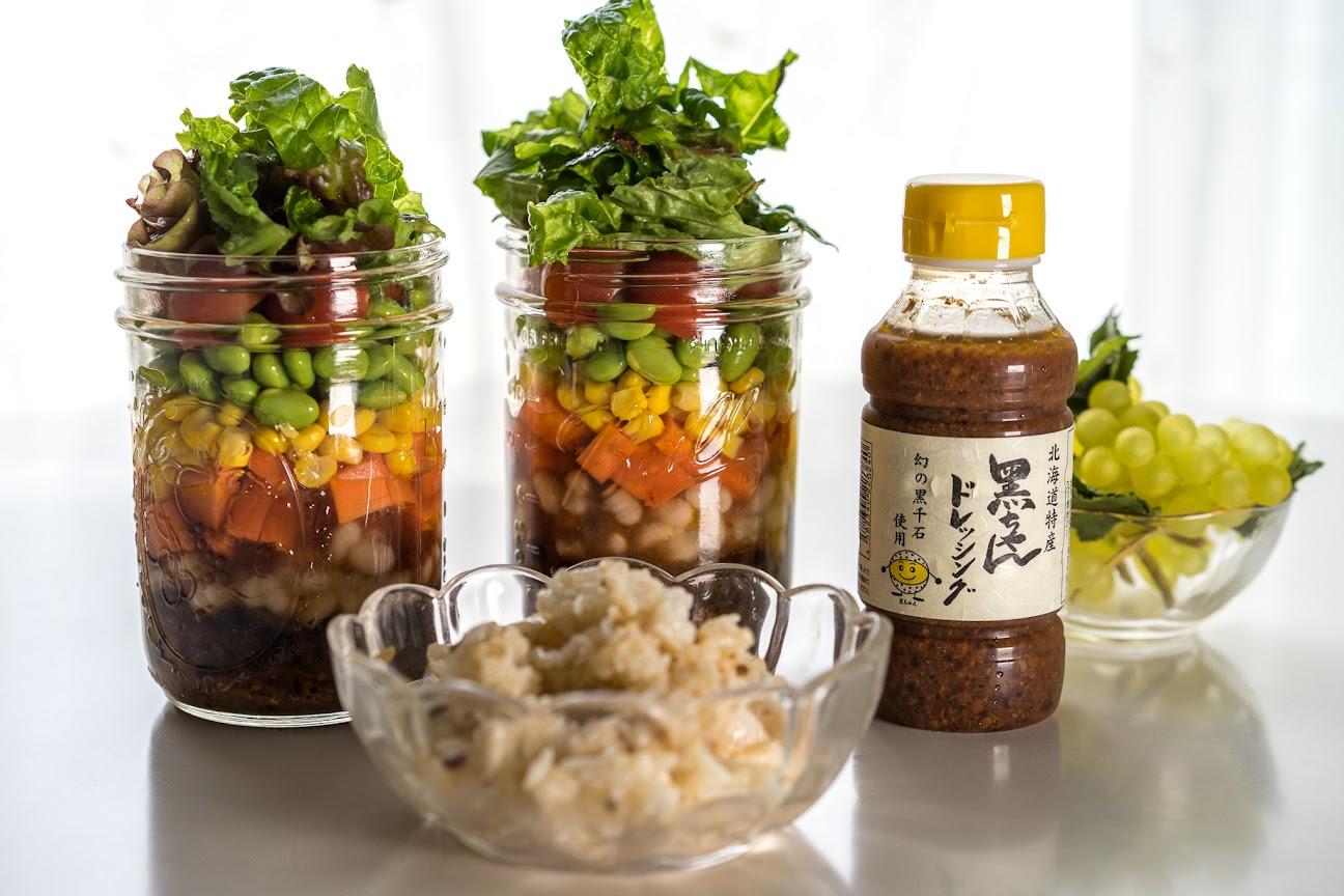 黒ちゃんドレッシング&発芽玄米のボトルサラダ
