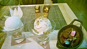 3 for $15 desserts at Urban Farmer - from a choice of 11 options- here we selected Condensed Coconut Ice Cream, Chunky Chester Sundae with malted banana ice cream, brownie, almond  and Truffle Hunter (chocolates truffles ready to be