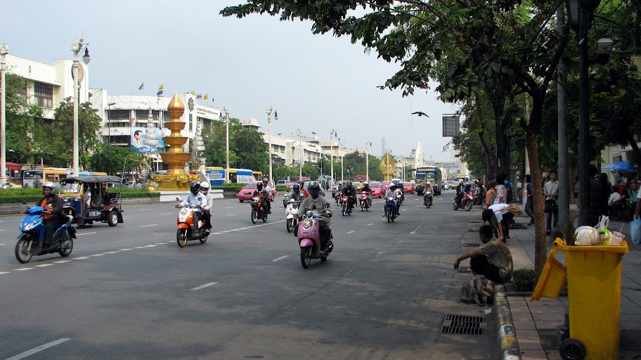 Bikers on road in Bangkok
