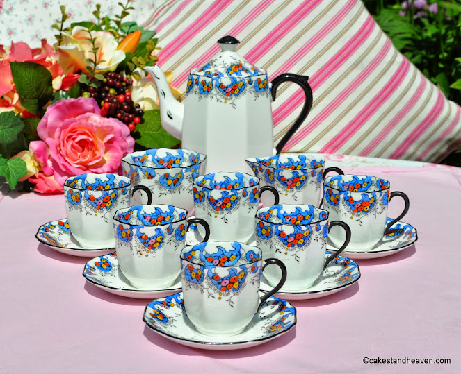Sutherland China Art Deco Coffee Set for Six