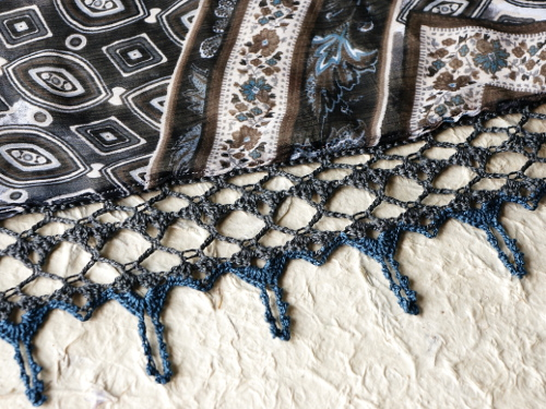 Two colour crocheted lace edging