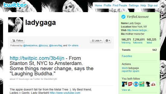 Lady Gaga on Twitter