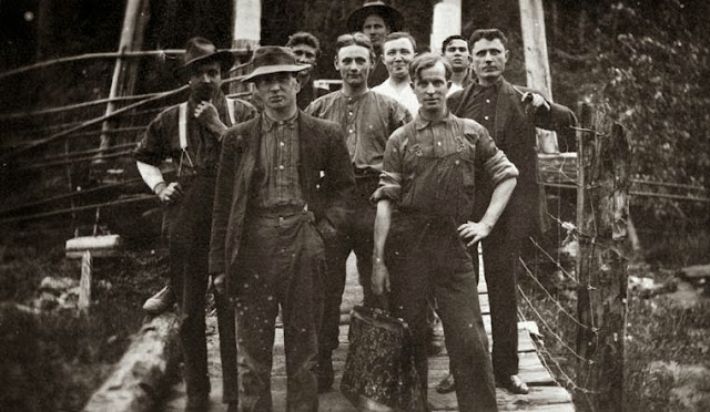 Canadian, American, Swedish, Italian and Scottish workers at a Canadian National Railway construction camp, British Columbia, 1913