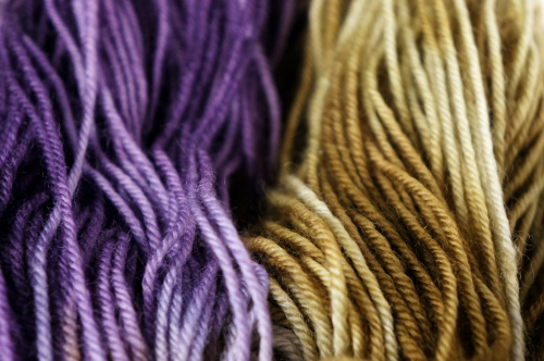 Handpainted yarn in green and purple