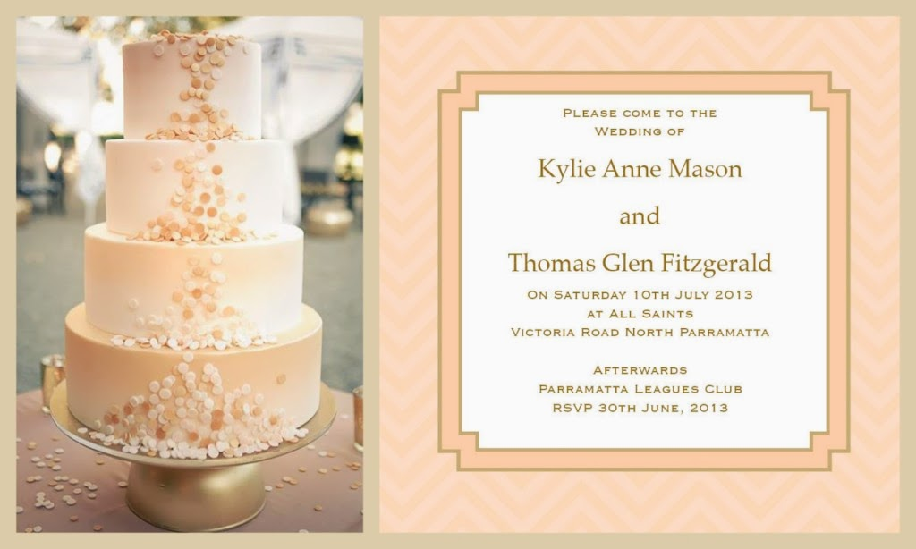 DreamDay Invitations's Chevron Time in Apricot and hints of Gold