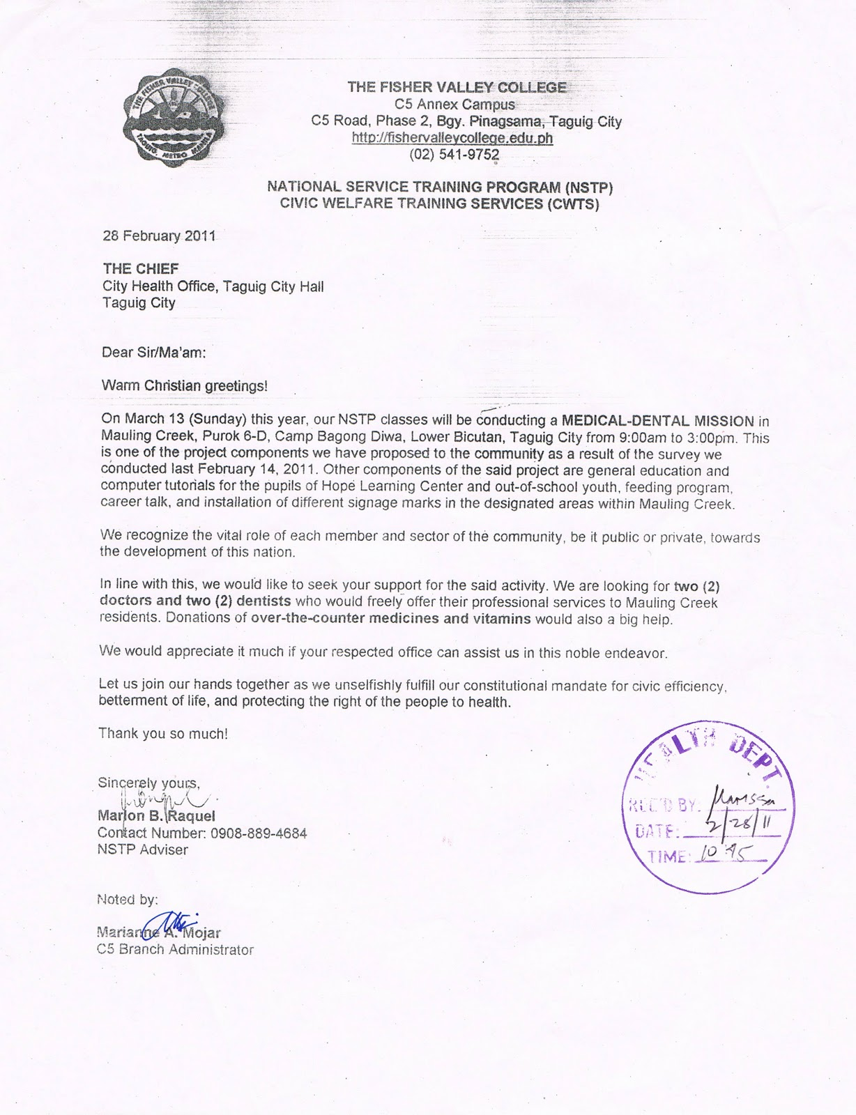 The fisher valley college letter to the city health office letter to the city health office taguig city yelopaper Gallery