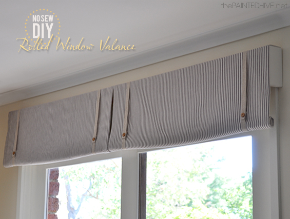 No Sew DIY Rolled Window Valance