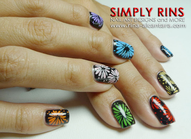 Fireworks Nail Art Design