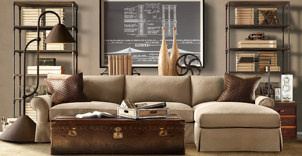 steampunk interior design living room chalkboard industrial lamps vintage chest coffee table architecture drawing