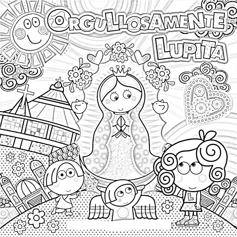 Virgin Of Guadalupe Coloring Pages Virgencita Our Lady Of Guadalupe Printable Pages Coloring Pages