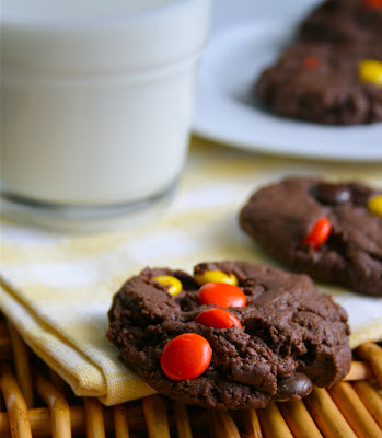 Reese's Pieces Double Chocolate Cookies