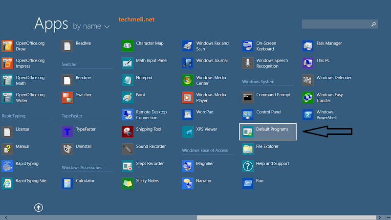 Default Programs App Windows 8.1