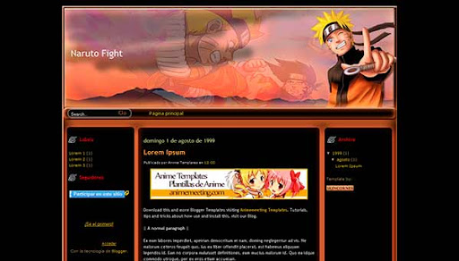 'Anime Plantilla Blogger' Naruto Fight Template