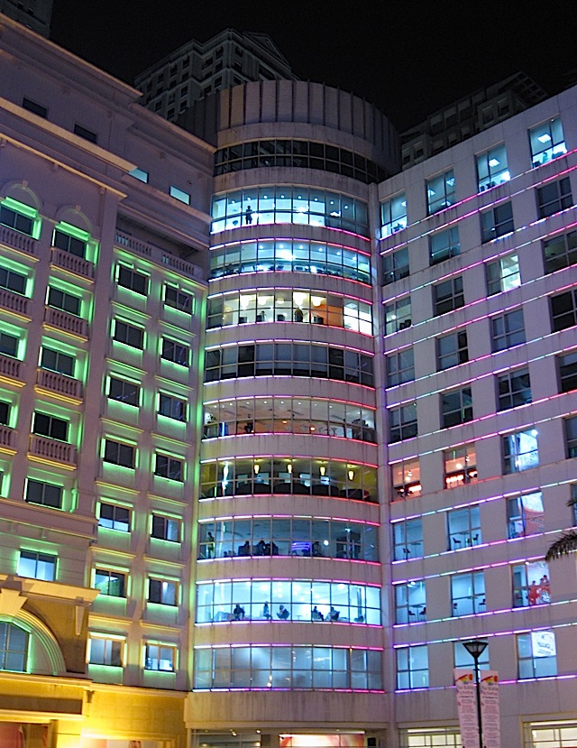 colored lights on a BPO center in Eastwood