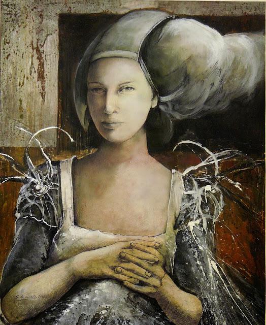 La dama y el viento,obra en técnica mixta del pintor Severino de Llanza