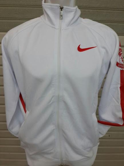 Jual Jaket Manchester United Putih List Merah Logo MU Lengan Kiri 2014-2015