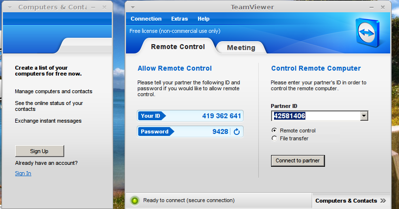 Team Viewer di Linux Mint
