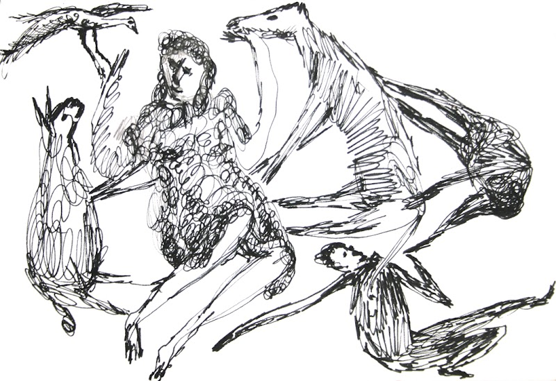 dancing with the animals (tekening van frank waaldijk)