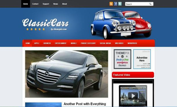 Classic Cars Blue Free WordPress Theme Template