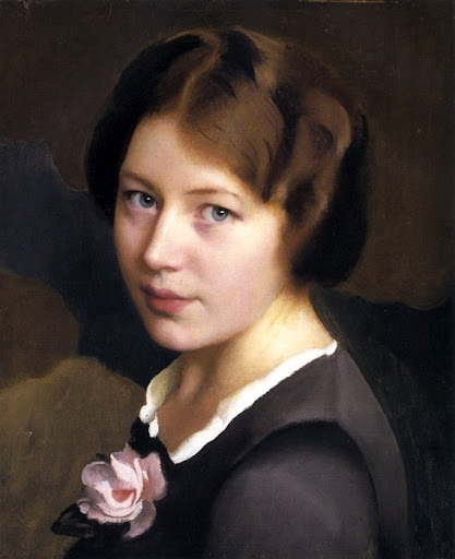 William McGregor Paxton - Girl with a Pink Rose