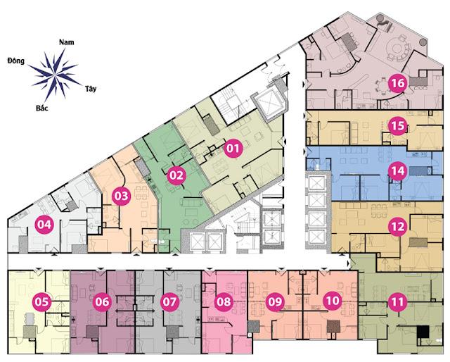 Mặt bằng tầng 3 đến 11 tháp doanh nhân