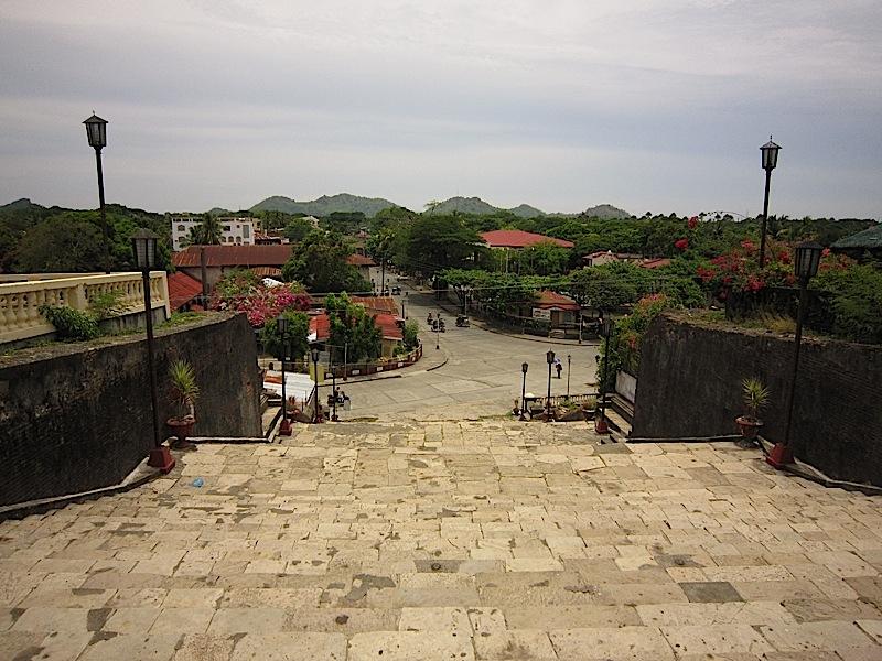 stairs at the front of the Church of Nuestra Señora de la Asuncion in Santa Maria, Ilocos Sur looking towards the town